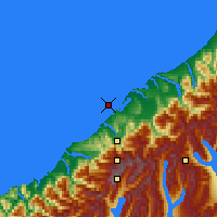 Nearby Forecast Locations - Ōkārito Lagoon - Mapa