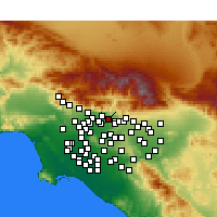 Nearby Forecast Locations - Azusa - Mapa